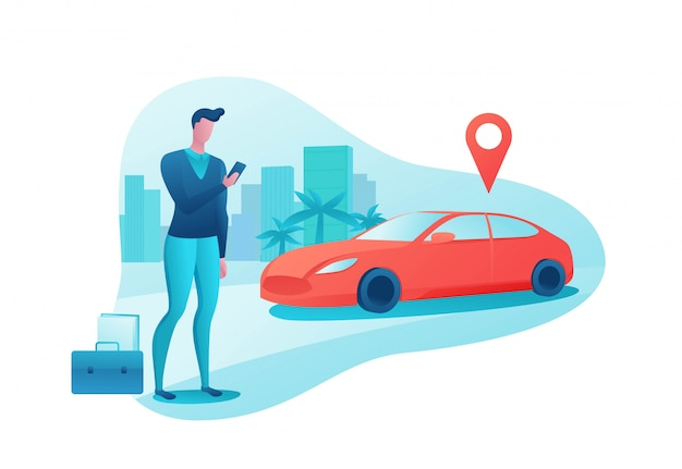 Man rent car by smartphone
