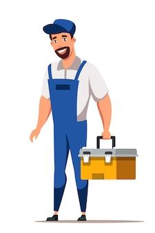 Человек ремонт персонажа в униформе, стоящей с ящиком для инструментов, изолированным на белом