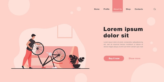 Man repairing bicycle at home landing page in flat style