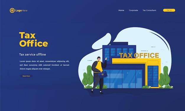 Человек отчитывается о ежегодных налогах в налоговую службу