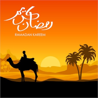 Man ride camel silhouette with sunset background in ramadan