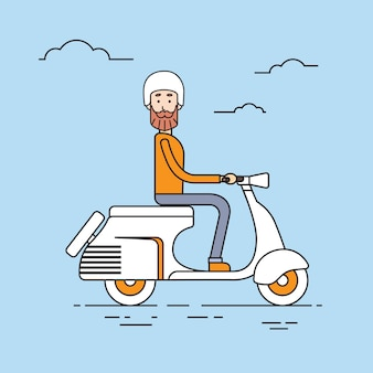 Man ride electrical scooter retro electric transport