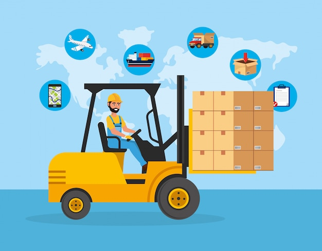 Man ride forklift transport with packages service