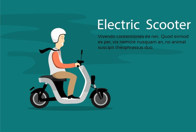 Man ride moped electric scooter