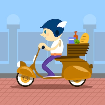 Man ride motorcycle scooter delivery service retro Premium Vector