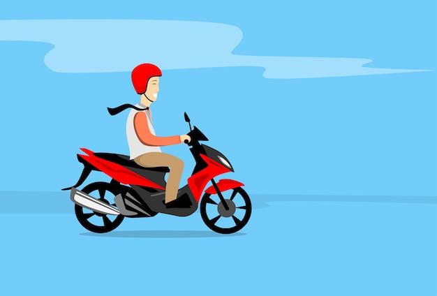 Man ride motorcycle wearing hemlet copy space