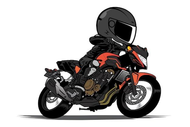 男は裸のオートバイの漫画に乗る