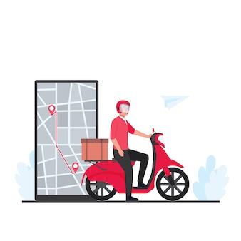 Человек катается на скутере с коробками, доставляет посылку в пункт назначения по телефону.