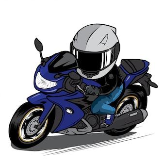 Человек ездить спортивный велосипед мультфильм. иллюстрация скорости мотоцикла