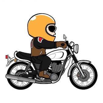 Человек ездить винтаж велосипед мультфильм. иллюстрация скорости мотоцикла