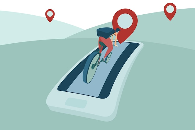 L'uomo guida la bicicletta con l'inseguimento di gps sull'illustrazione di navigazione dello smartphone del telefono cellulare.