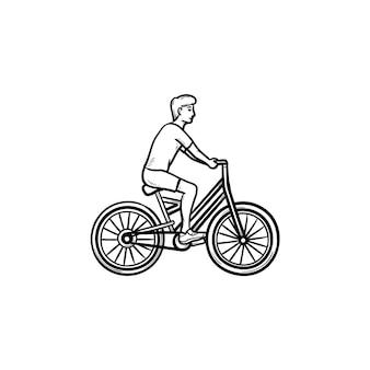 자전거 손으로 그린 개요 낙서 아이콘을 타고 남자. 사이클 및 피트니스, 레크리에이션 및 여행 활동 개념
