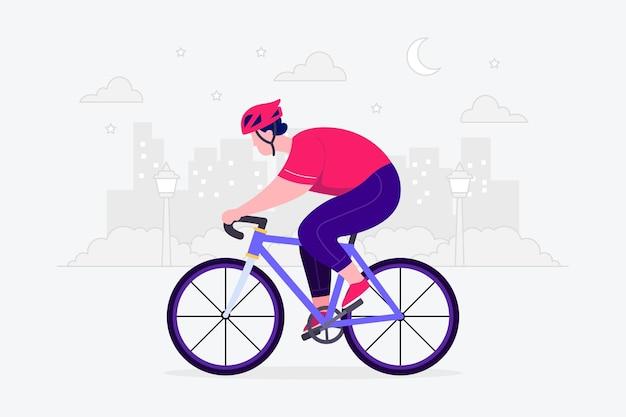自転車に乗る男フラットイラスト