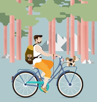 Man riding a bicycle with dog