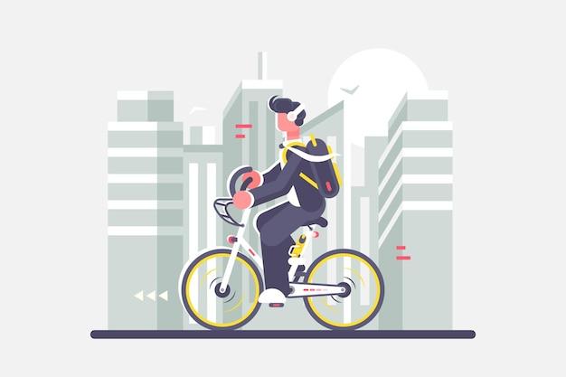街並みの背景イラストに自転車に乗る男