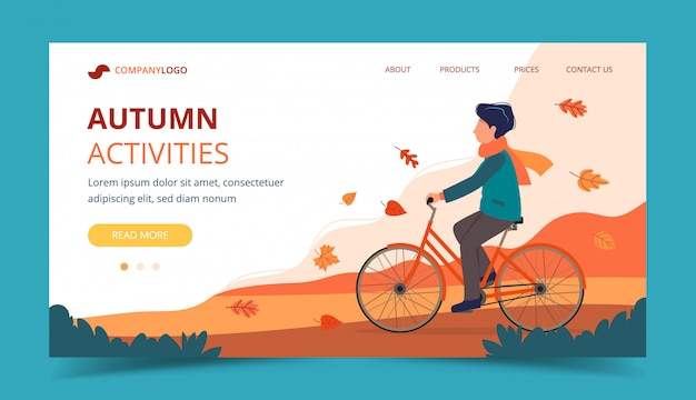 Man riding bike in the park in autumn. landing page template.