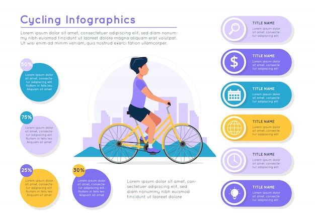 Man riding bike with city landscape, different data colorful elements