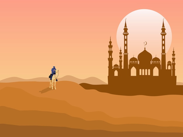A man riding a camel in the desert has a mosque behind it. with the sun set in the background