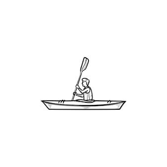 カヌーに乗る男手描きのアウトライン落書きアイコン。ウォータースポーツ競技、カヤック、ボートのコンセプト。白い背景の上の印刷、ウェブ、モバイル、インフォグラフィックのベクトルスケッチイラスト。