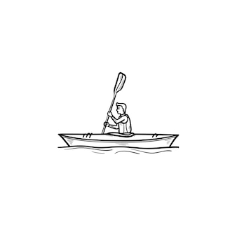 Человек верхом на каноэ рисованной наброски каракули значок. соревнования по водным видам спорта, каякинг, концепция катания на лодках