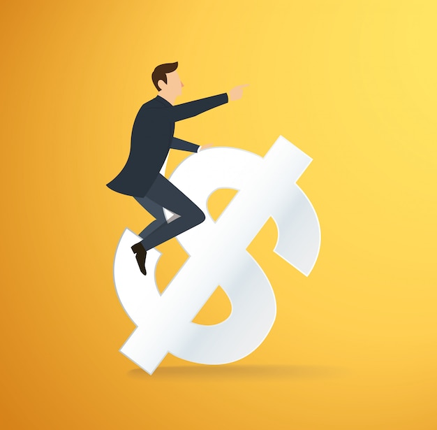 Man riding dollar icon