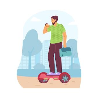 Человек, езда экологический альтернативный транспорт плоский векторные иллюстрации изолированы