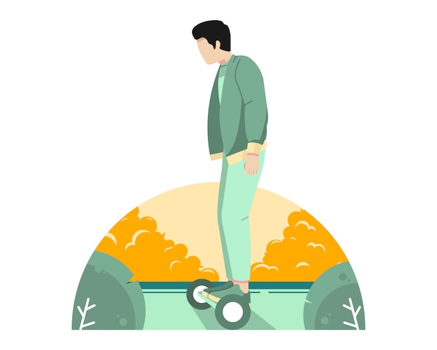 Man riding hoverboard on the street vector illustration