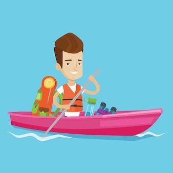 Man riding in kayak illustration.