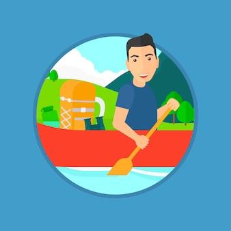 Man riding in kayak.