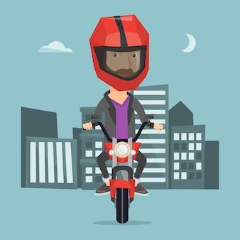 Man riding motorcycle at night vector illustration
