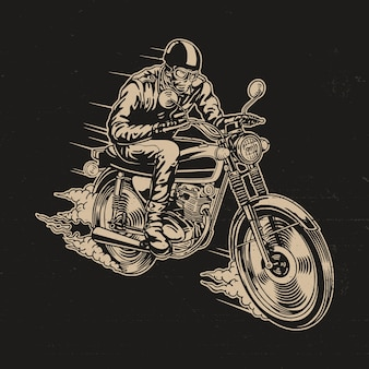 Man riding motorcycle vector illustration