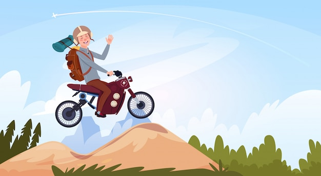 Man riding off road bike in mountain wear in helmet travel on motorcycle transport concept