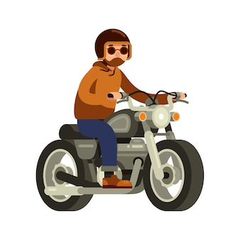 Man riding old vintage motorcycle in flat style