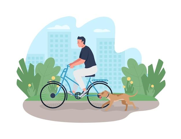 Человек катается на велосипеде с собакой, бегущей возле 2d веб-баннера, плаката