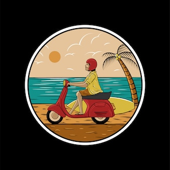 Man riding scooter on beach