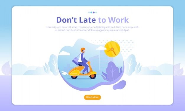 Man riding a scooter landing page