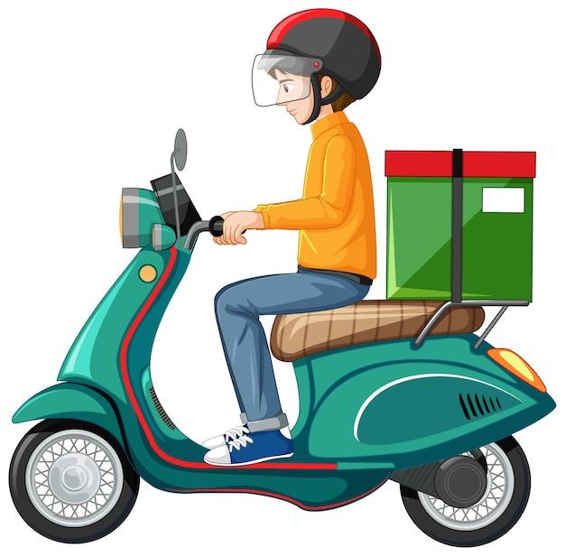 Uomo che guida scooter su sfondo bianco