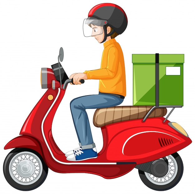 Man riding scooter on white background