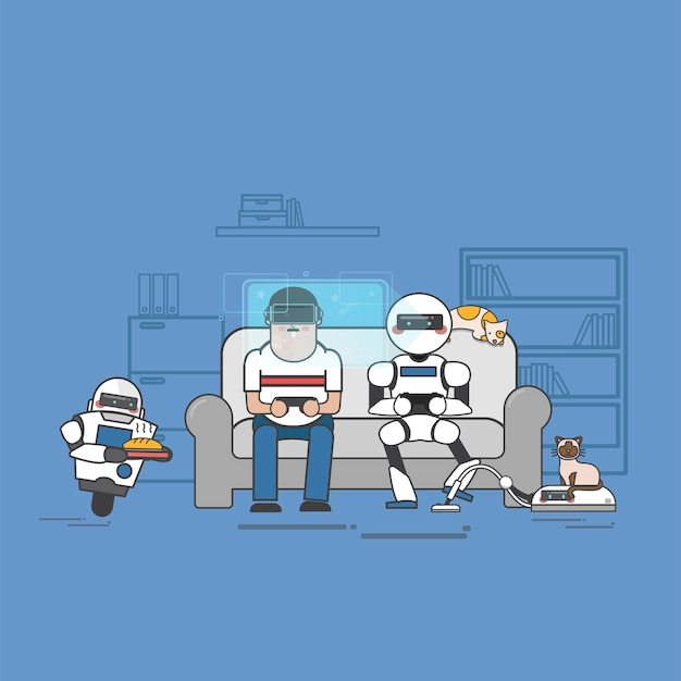 Uomo e robot che giocano ai videogiochi