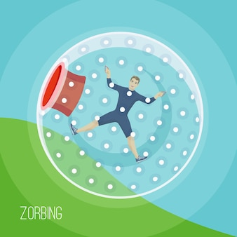 A man rolling down the mountain in zorbing sphere