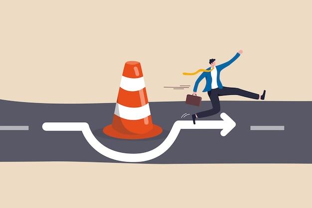 Man run the way around and jump pass traffic pylon roadblock