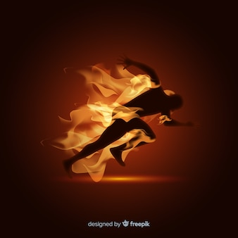 Man runner in flames background
