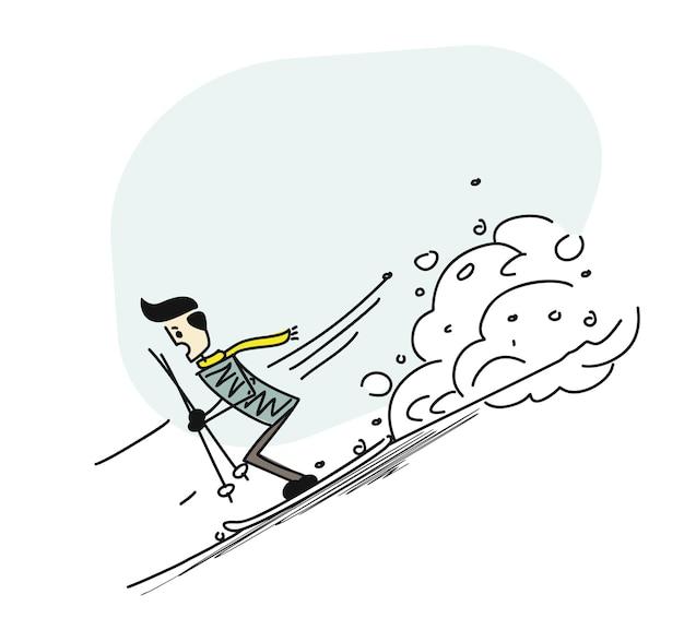 Man runner at the speed skating, cartoon hand drawn sketch vector illustration.