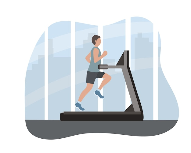 Man runner on a treadmill