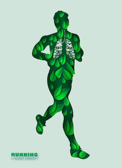 Man runners jogging in park on green with green leaf.