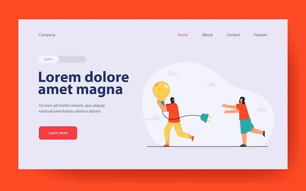 Man running away with stolen idea symbolized by light bulb landing page in flat style