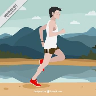 A man running in a beautiful landscape