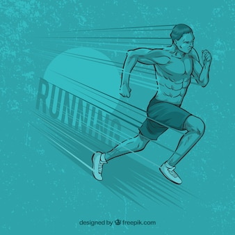Man running blue background