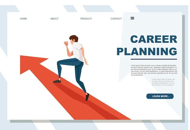 白い背景の広告バナーのウェブサイトのページでキャリアプランニングコンセプト漫画のキャラクターデザインフラットベクトルイラストを実行している男。