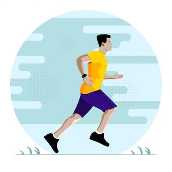 피트 니스 훈련 벡터 일러스트 레이 션 동안 실행하는 남자. 운동 중 음악을 듣고 달리는 선수.